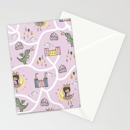 Childish seamless pattern with princess and dragon Stationery Cards