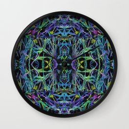 Psychedelic Geometric Grass Quilt in Blue Wall Clock