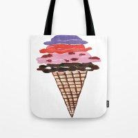ice cream Tote Bags featuring Ice Cream by Sartoris ART