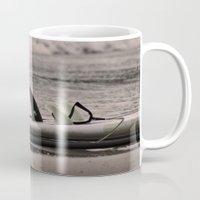 surfboard Mugs featuring Surfboard 1 by Becky Dix
