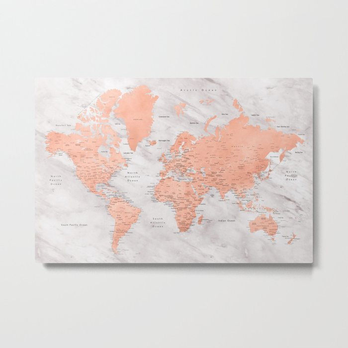 "Rose gold and marble world map with cities, ""Janine"" Metal Print"
