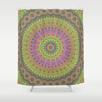 mandala Shower Curtains featuring Floral ornament mandala  by David Zydd - Colorful Mandalas & Abstrac