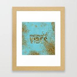 Mermaid Vibes - Gold Glitter On Teal Framed Art Print