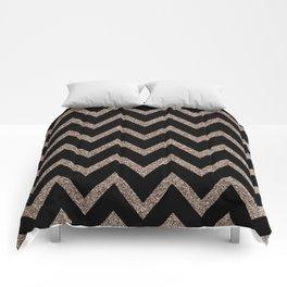 Black and Gold Glitter Chevron Comforters