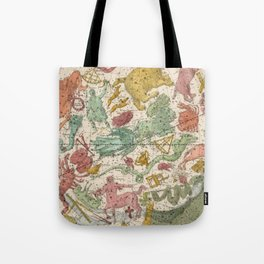 Libra Antique Astrology Zodiac Pictorial Map Tote Bag