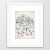 bikes Framed Art Prints featuring Old Town Bikes by David Fleck