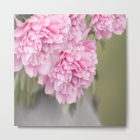 Pink Peonies On A Green And Grey Background #society6 #buyart Metal Print