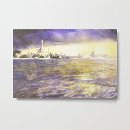 Watercolor painting of prangs of Wat Arun silhouetted at sunset from across the Chao Praya river Metal Print