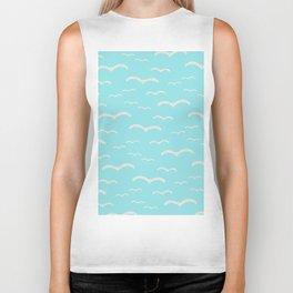 Beach Series Aqua - Sea Gulls Birds in the blue Sky Biker Tank