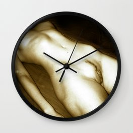 The Body - erotic photography in Midnight Sepia tones, submissive woman naked on table Wall Clock