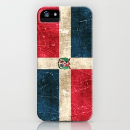 Vintage Aged and Scratched Dominican Flag iPhone Case