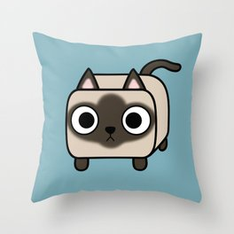 Cat Loaf - Siamese Kitty with Crossed Eyes Throw Pillow