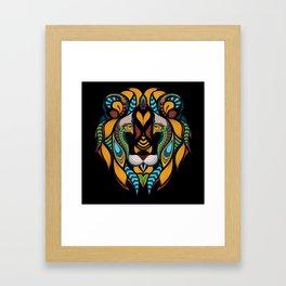 African Lion Head Framed Art Print