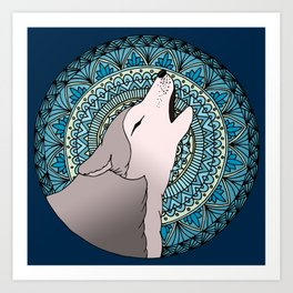 Howling Wolf Mandala Moon Art Print