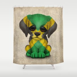 Cute Puppy Dog with flag of Jamaica Shower Curtain