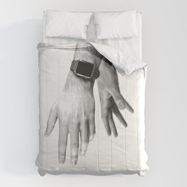 Fading Hands (Black and White) Comforters