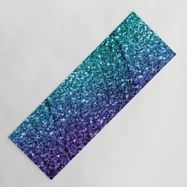 Beautiful Aqua blue Ombre glitter sparkles Yoga Mat
