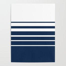 White blue striped pattern . Poster