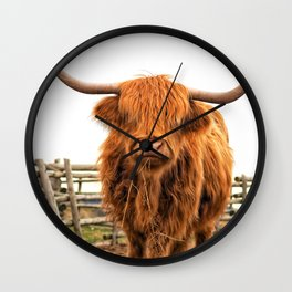 Highland Cow in a Fence Wall Clock