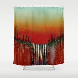 Cascade in Cantaloupe Colors Shower Curtain