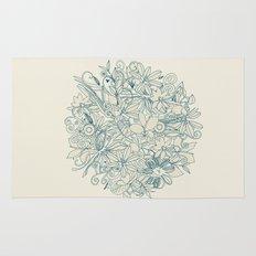 Denim flower circle Rug