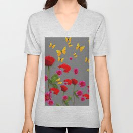 RED &  FUCHSIA PINK ROSES YELLOW BUTTERFLIES ABSTRACT Unisex V-Neck