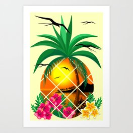 Pineapple Tropical Sunset, Palm Tree and Flowers Art Print