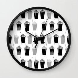 Coffees - black and white iced coffee pattern print cafe mocha chocolate dessert sugar sweet minimal Wall Clock