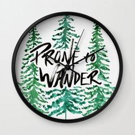 Prone to Wander - Green Wall Clock