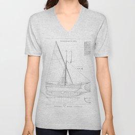 Vintage black & white sailboat blueprint drawing antique nautical beach or lake house preppy decor Unisex V-Neck