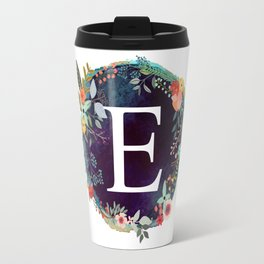 Personalized Monogram Initial Letter E Floral Wreath Artwork Travel Mug