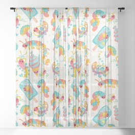 Jelly Polychaete worm Sheer Curtain