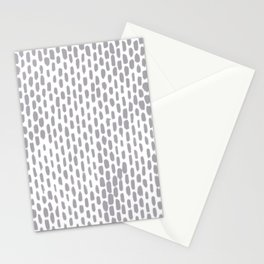 Minimalist Staggered Brush Strokes Silver Stationery Cards