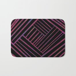 SAVANT black with bright pink and purple lines pattern Bath Mat