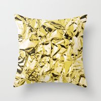 gold foil Throw Pillows featuring Gold foil by lamottedesign