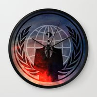 anonymous Wall Clocks featuring Anonymous by Sney1
