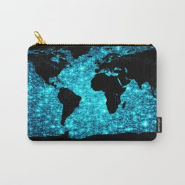 wOrld map Turquoise Sparkle Carry-All Pouch