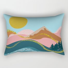 Landscape in blue tones, coral, caramel and gold Rectangular Pillow