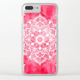 White mandala on red watercolor Clear iPhone Case