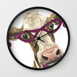 Cute Glasses Cow, Unique Cow Art Wall Clock