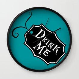 """Drink Me"" Alice in Wonderland styled Bottle Tag Design in 'Alice Blue' Wall Clock"