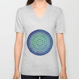 Mandala in blue watercolor Unisex V-Neck