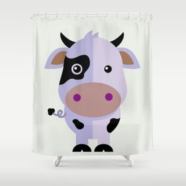 Purple cow by Leslie harlo Shower Curtain