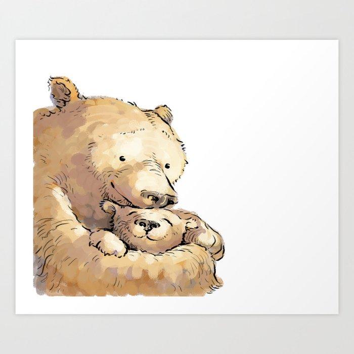 Bear Snuggle Art Print