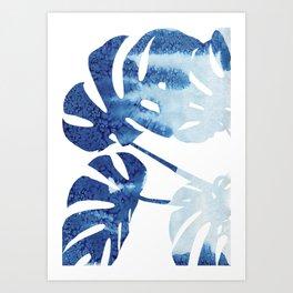 Navy Blue Tropical Leaf Art Print