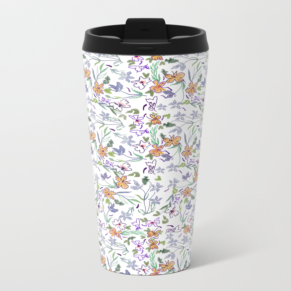 Simple Flowers On White Background . Artwork Travel Cup TRM8874623