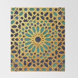 -A1_2- Golden Original Traditional Moroccan Artwork. Throw Blanket