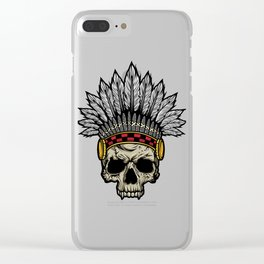 Indian Warrior Skull Is Ready For Battle With His Feathered Headdress And War Paint T-shirt Design Clear iPhone Case