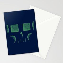 Skull Linework (Green / Dark Blue) Stationery Cards