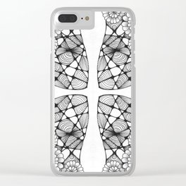Black and White Zentangled Cross Tile Doodle Design Clear iPhone Case